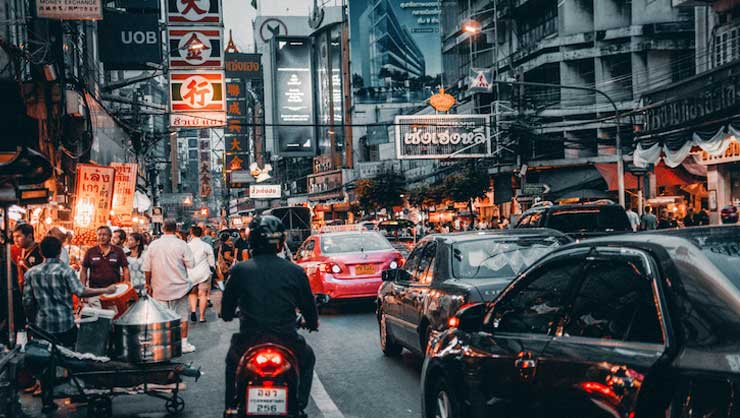 Bangkok traffic in the evening