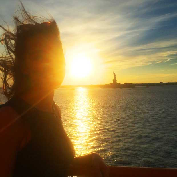 Sunset and Lady Liberty