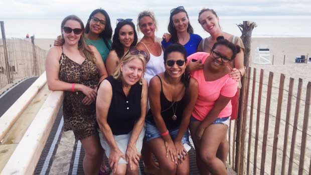 Au pairs having a great time on Long Beach Island