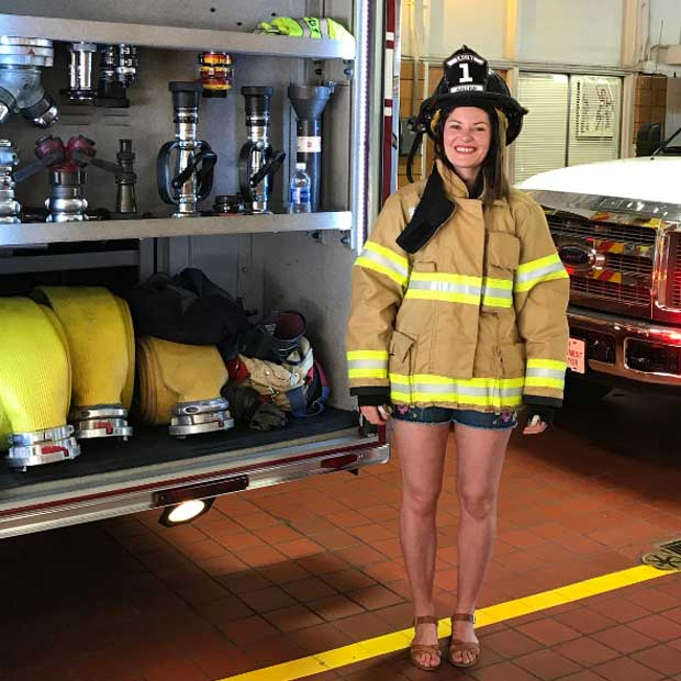 Rebecca from Ireland had a chance to try on the firefighter jacket.