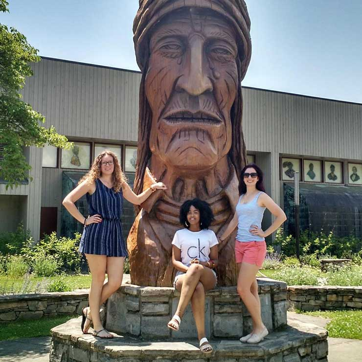 Charlotte au pairs learned about Cherokee heritage and hiked in the area.