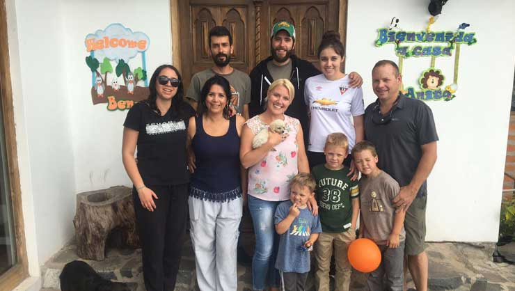 Host family Hubbard traveled from New York to Ecuador to meet their au pairs' families.