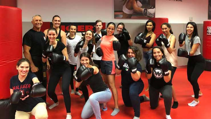 Long Island area au pairs took a self-defense class.