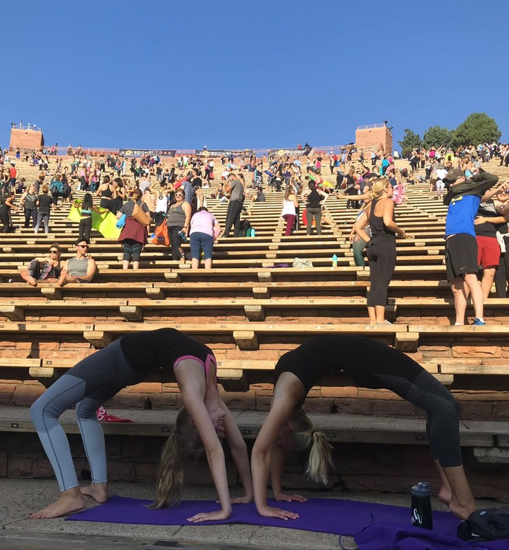 Yoga at Red Rocks Amphitheater in Colorado.