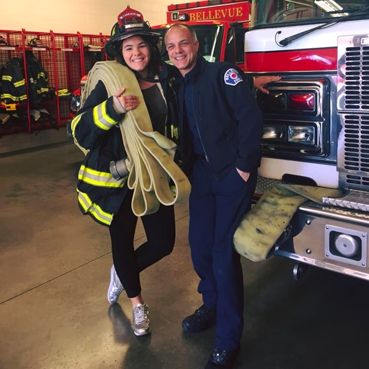 Au pair Irene and one of the hosting firemen.