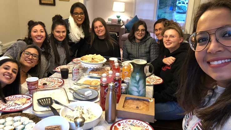 Maryland au pairs celebrated Thanksgiving together.