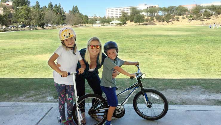 Melissa and the kids celebrate milestones, like learning to ride a bike.