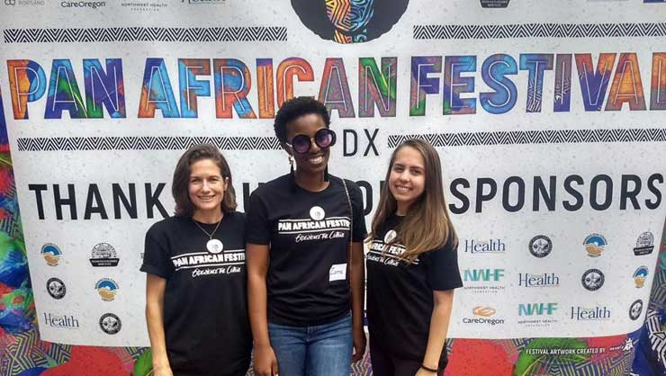 Au pairs in Portland volunteered at a festival.