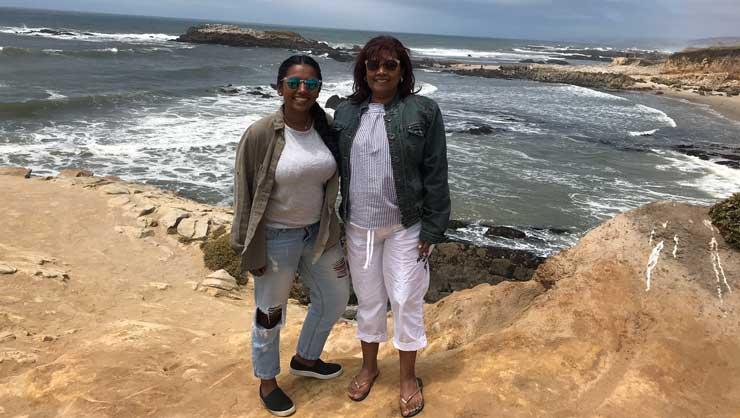 Nasrene and her mom in San Francisco.
