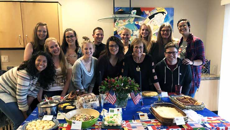 Denver au pairs had an international potluck.
