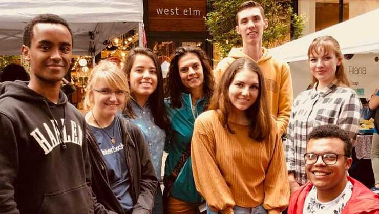 Philadelphia au pairs visited a fall festival and had lunch at a market.
