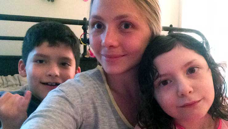 Simone and her host kids.
