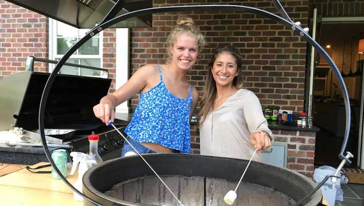Au pairs in North Carolina gathered for a backyard cookout.