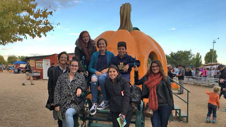 Au pairs in Boulder, CO enjoyed a fall festival and haunted house before it snowed that night.