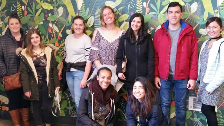 The Seattle au pairs at a chocolate factory tour.