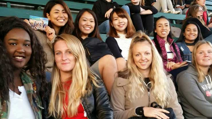 Seattle au pairs attended a classic homecoming football game.