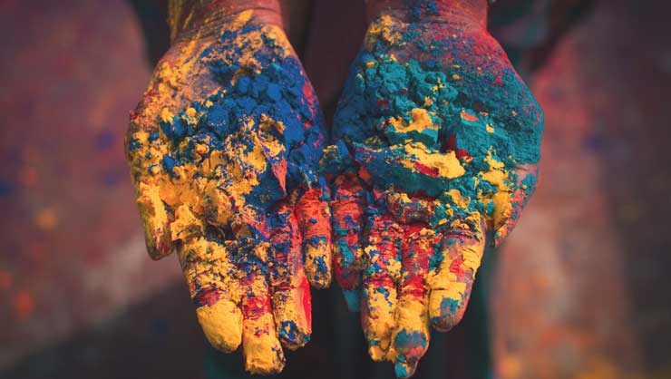 The distinctive powders from Holi are recognized all over the world.
