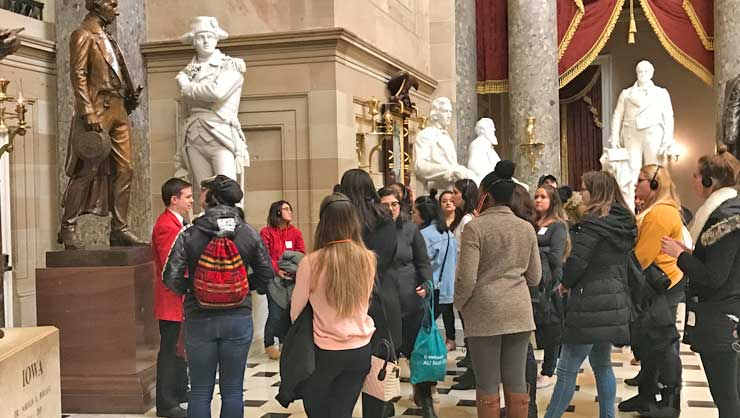 The au pairs enjoyed the educational tour and stunning art.