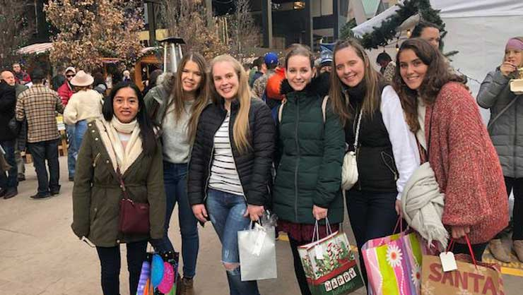 Denver au pairs enjoyed the downtown area, including going shopping and ice skating.