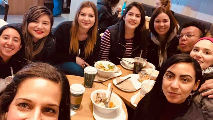 Philadelphia au pairs warmed up with coffee and conversation.