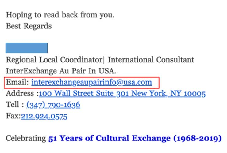 This email address is not a real organization email. All InterExchange emails end in @interexchange.org.