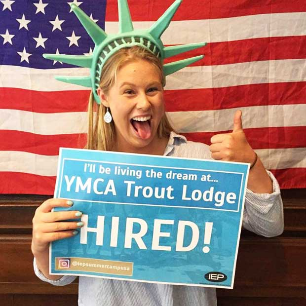 Aria got a job with the YMCA Trout Lodge at the fair in Christchurch!