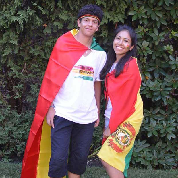 Elisa and Luis, two Bolivian participants, got dressed up to represent their home countries