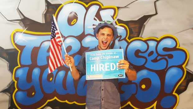 Total happiness after getting hired at Camp Chipinaw at the Auckland fair!