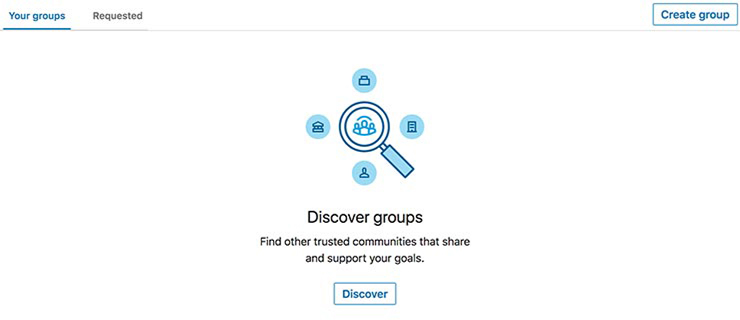 LinkedIn discover groups webpage