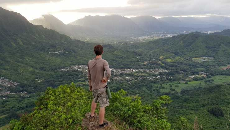 Aleksander hiking and taking in the beauty of Hawaii