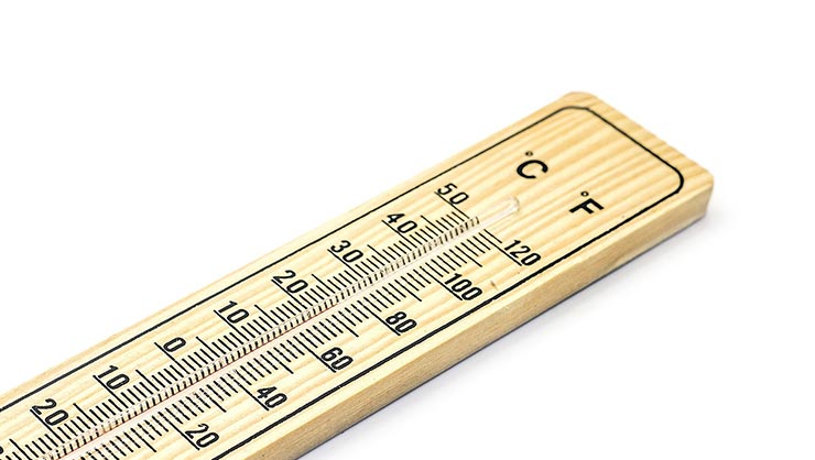 A thermometer showing Celsius and Fahrenheit
