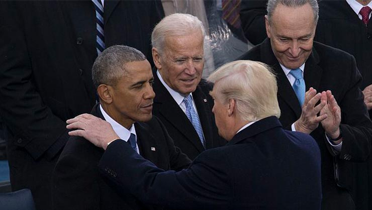 Presidents Donald Trump and Barack Obama shake hands, with presidential candidate Joe Biden in background