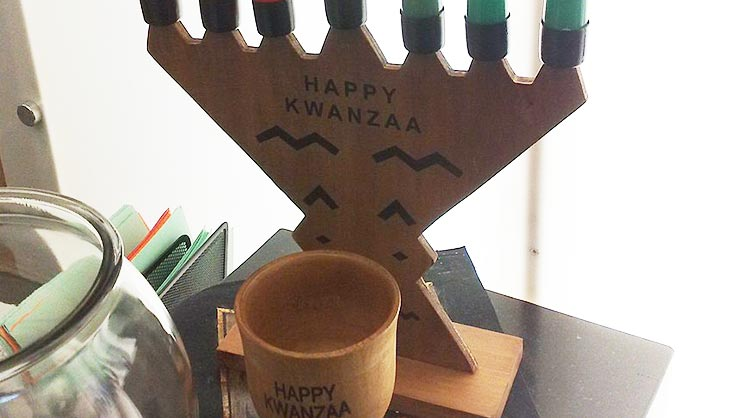 A Kwanzaa kinara with seven candles