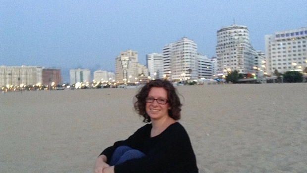 Liz on the beach in Tangiers