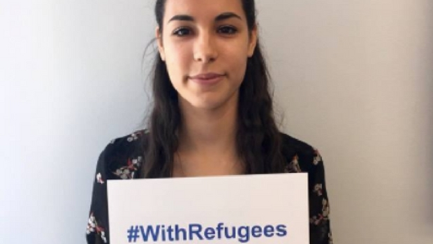 Posing for a social media campaign to raise awareness of our refugee event.