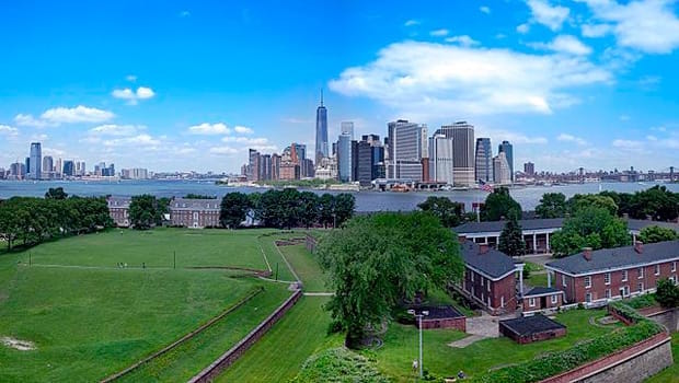The lower Manhattan skyline, as seen from Governors Island.