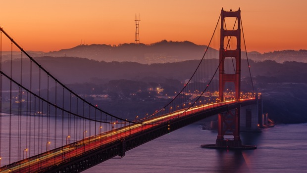 A view of the Golden Gate Bridge at sunset.