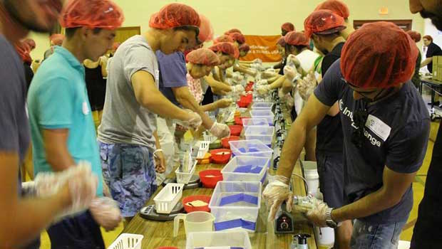 IntereExchange participants prepared meals to help alleviate hunger.