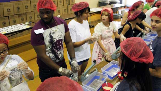 Everyone was hard at work packing meals
