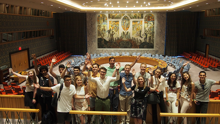 Exchange Visitors in the main conference room of the UN Headquarters.