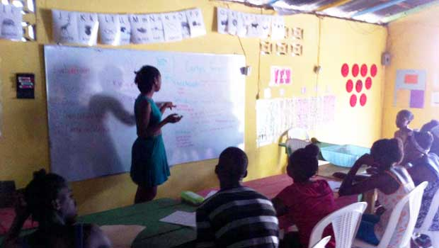 Teaching in the Batey community.