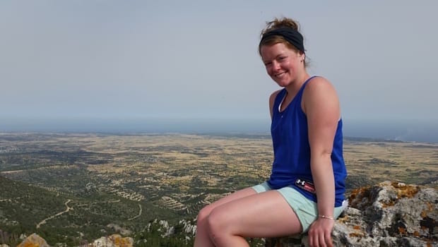 Maryann takes in the view from a hilltop in Cyprus.