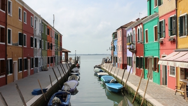 The famously colorful Burano, Italy.