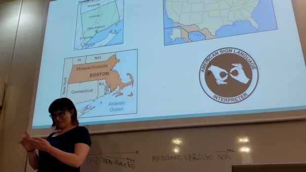 Rachel from Boston gives a presentation to my class.