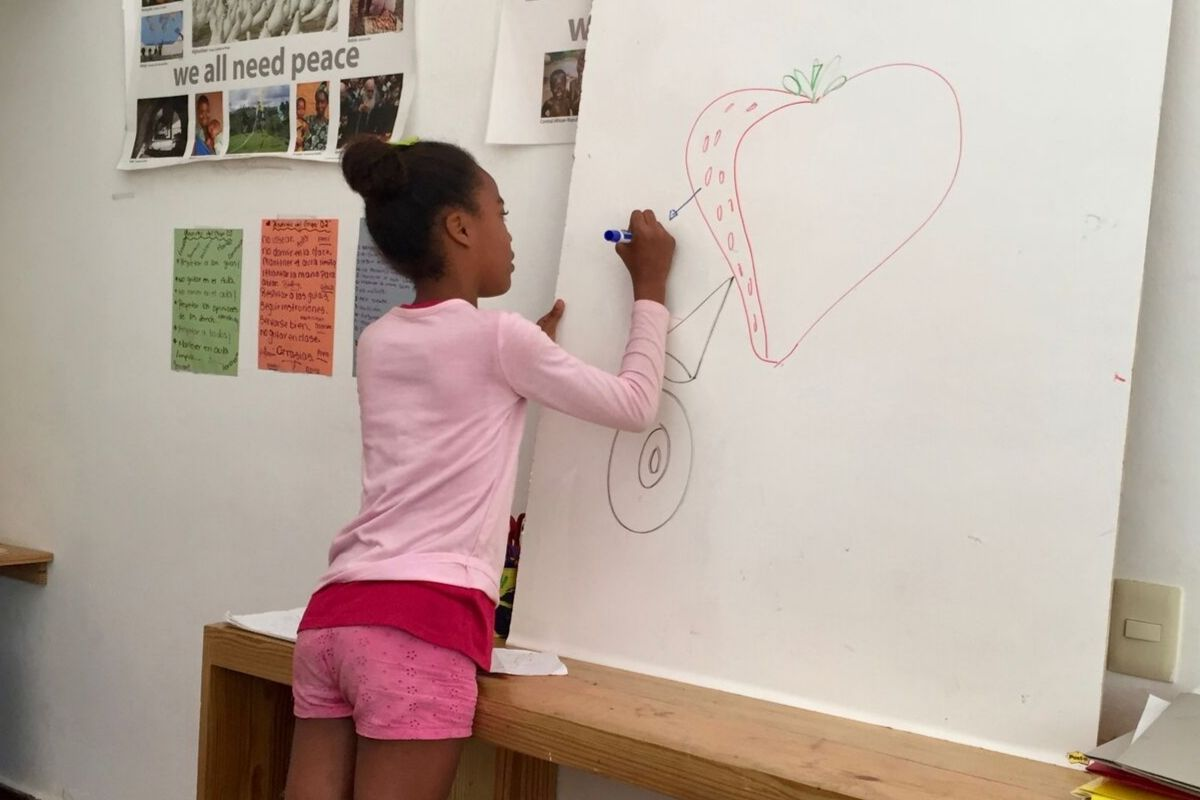 One of our fifth graders learning about the reproductive organs of fruits