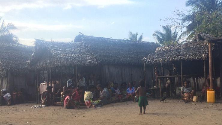 Female weavers meet in the hamlet of Ambandrika in Saint Luce, Madagascar