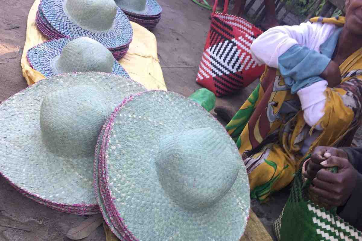Hats made from mahampy reeds at a local market
