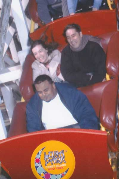 Kate riding a roller coaster
