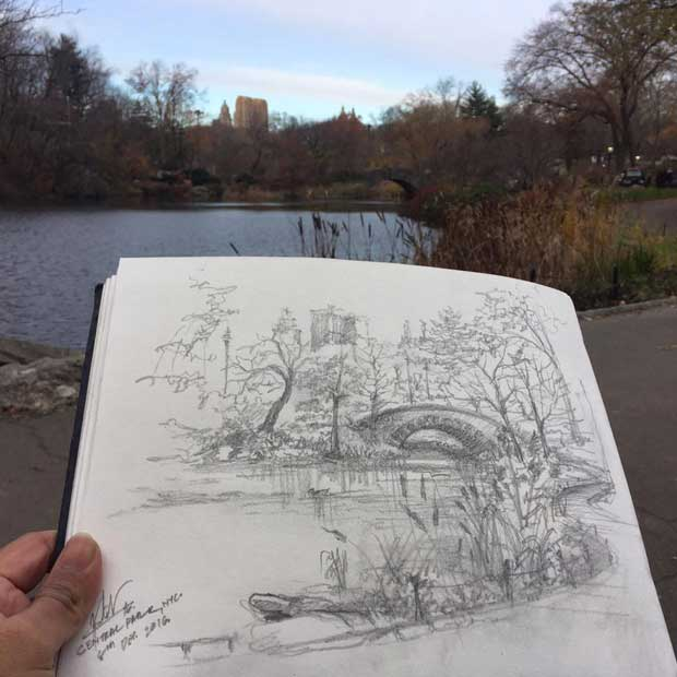 A sketch from Manhattan's biggest park: Central Park!