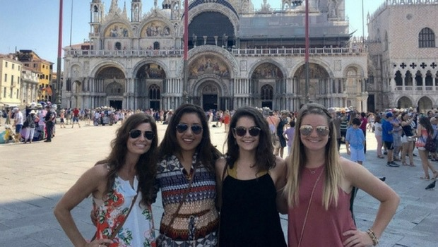 The girls and I at St. Mark's Cathedral in Venice during a weekend getaway.